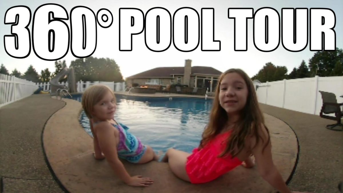 360° video swimming pool tour! | Life With Jillian & Addie | Babyteeth4