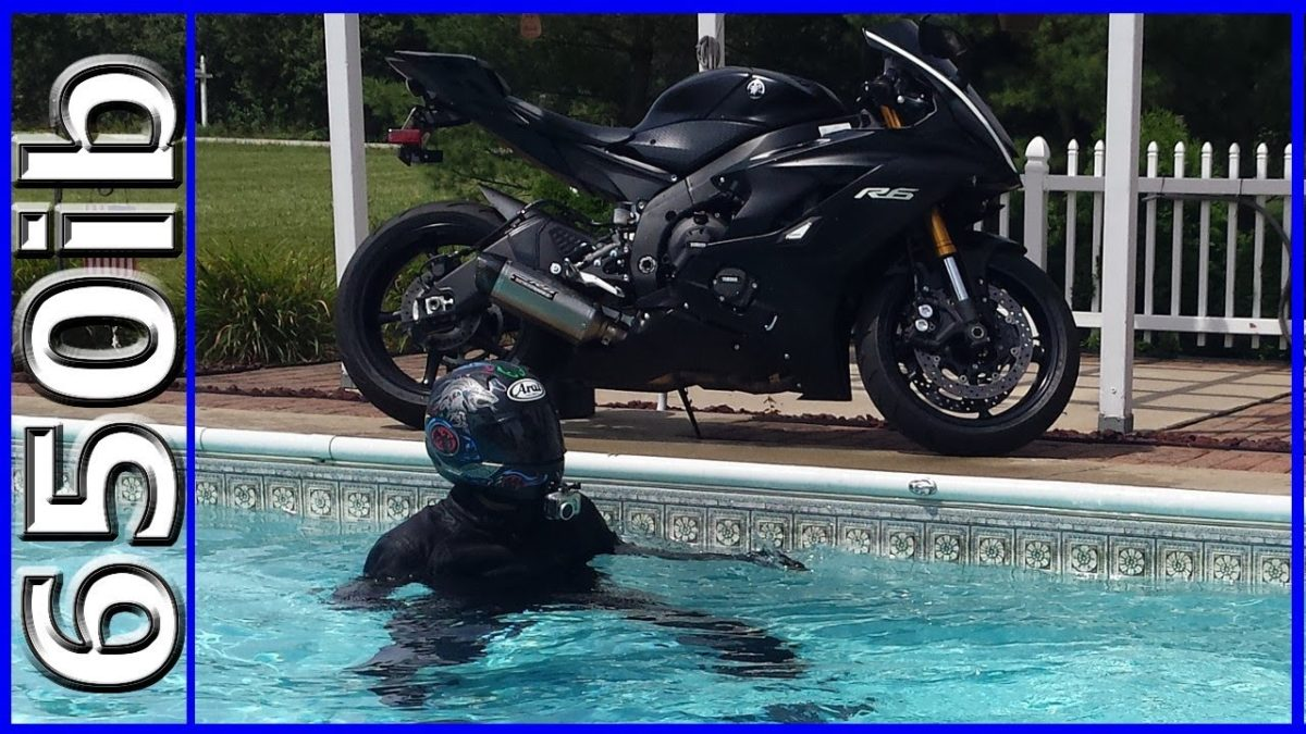 JUMPED OFF my Motorcycle into a SWIMMING POOL!