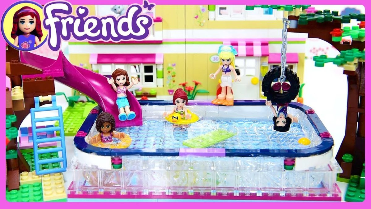 Lego Friends Big Swimming Pool in Olivia's Backyard Custom Build Silly Play Kids Toys